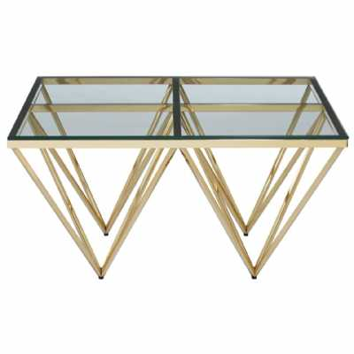 Fifty Five South Allure Gold Finish Spike Coffee Table