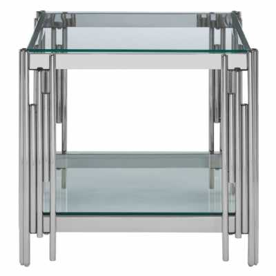 Fifty Five South Allure Silver Linear Design End Table