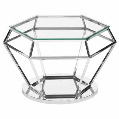 Fifty Five South Allure Silver Finish Diamond Design End Table
