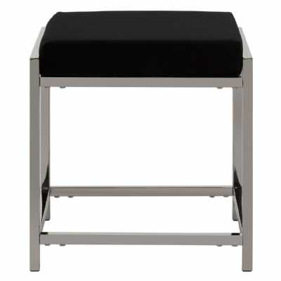 Fifty Five South Allure Black Velvet Silver Stool