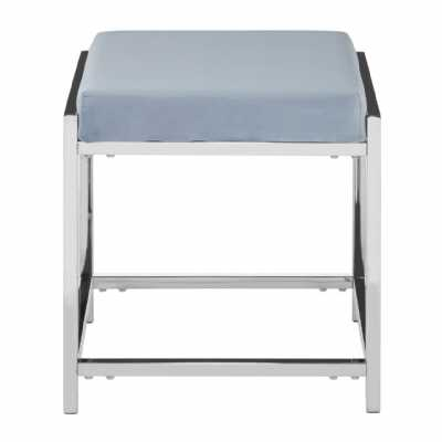 Fifty Five South Allure Grey Velvet Silver Stool