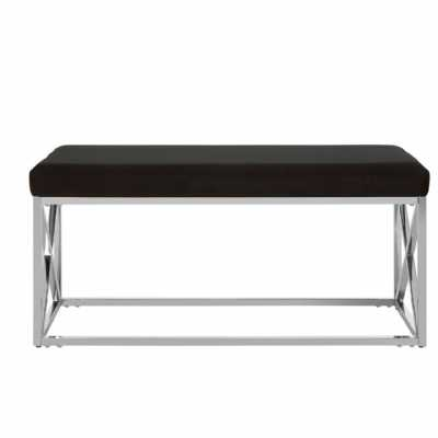 Fifty Five South Allure Black Velvet Silver Finish Bench