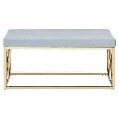 Fifty Five South Allure Blue Velvet Gold Finish Bench