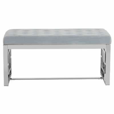 Fifty Five South Allure Grey Velvet Silver Finish Bench