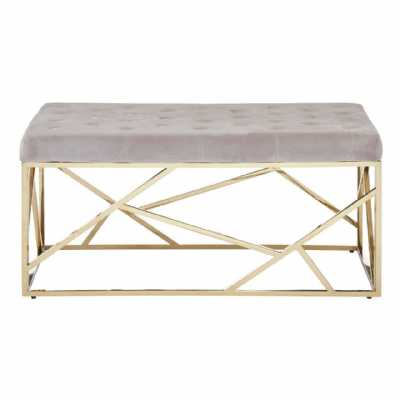 Fifty Five South Allure Mink Velvet Gold Finish Frame Bench