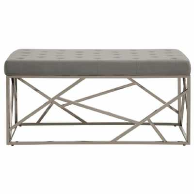 Fifty Five South Allure Grey Velvet Asymmetric Bench