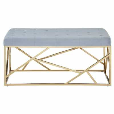 Fifty Five South Allure Grey Velvet Gold Finish Frame Bench