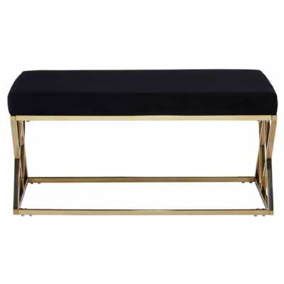 Fifty Five South Allure Black Seat Gold Finish Frame Bench