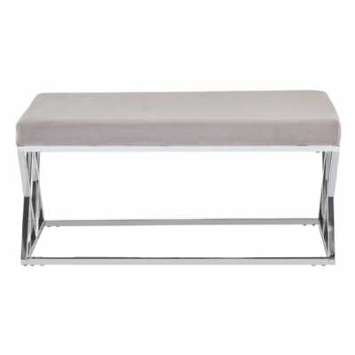 Fifty Five South Allure Mink Seat Silver Finish Bench