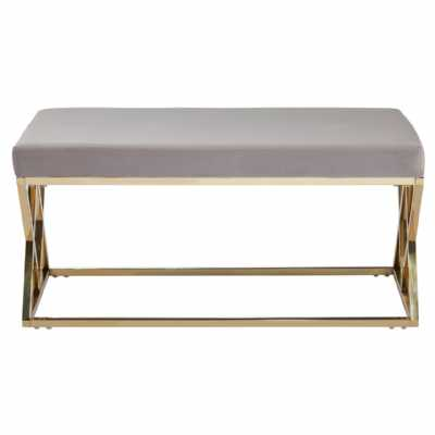 Fifty Five South Allure Mink Seat Gold Finish Bench