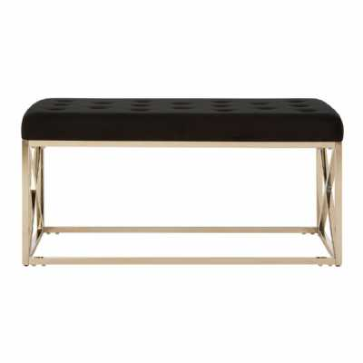 Fifty Five South Allure Black Tufted Seat Silver Finish Bench
