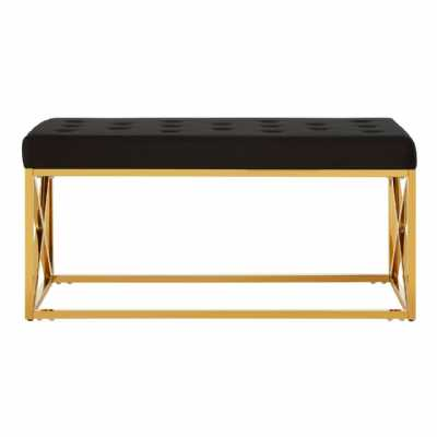 Fifty Five South Allure Black Tufted Seat Gold Finish Bench