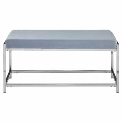 Fifty Five South Allure Grey Velvet Silver Bench