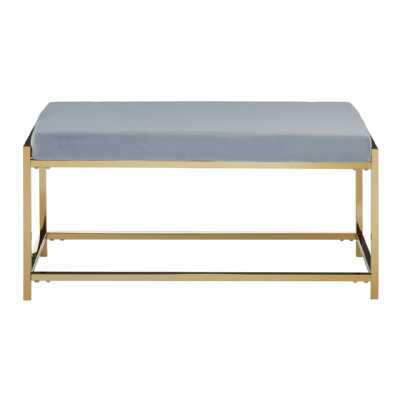Fifty Five South Allure Grey Velvet Gold Finish Bench