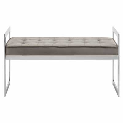 Fifty Five South Allure Grey Seat Silver Metal Frame Bench