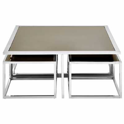 Fifty Five South Horizon Silver Coffee Table And Stools Set