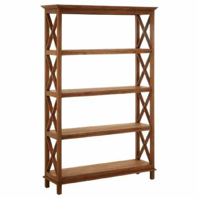 Lovina Large Tall 4 Tier Antique Brown Shelf Unit Teak Wood Framed
