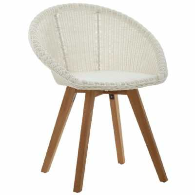 Boho Lovina Textured Woven Faux Rattan Curved Chair On Teak Wood Legs