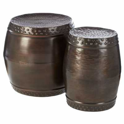 Fifty Five South Templar Set Of 2 Drum Style Side Tables