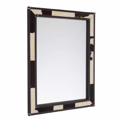 Townhouse Black White Cowhide Wall Mirror with Stainless Steel Edges