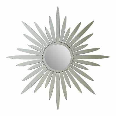 Modern Mirrored Glass Framed Round Large Wall Mirror Starburst Effect