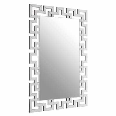 Geometric Contemporary Gisel Rectangular Silver Bevelled Wall Mirror