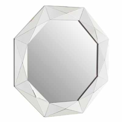 Modern Geometric Gaho Hexagonal Silver Wall Mirror with Bevelled Edges