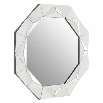 Contemporary Geometric Hexagonal Gael 3D Effect Mirrored Wall Mirror