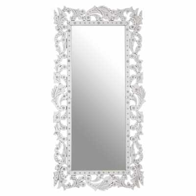 Classic Geonna Tall Rectangular Silver Finish Floral Frame Wall Mirror