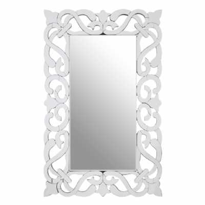 Baroque Style Scroll Designed Ginny Rectangular Mirrored Wall Mirror