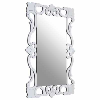 Traditional Gisela Tall Rectangle Silver Crystal Mirrored Wall Mirror