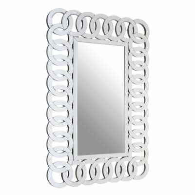 Contemporary Rectangular Shaped Ginna Silver Mirrored Wall Mirror