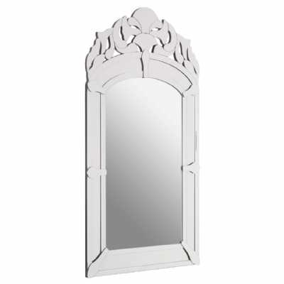 Ghita Tall Rectangular Arch Silver Finish Wall Mirror With Curved Top