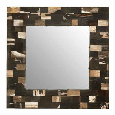 Medium Relic Square Shape Petrified Wood Brass Small Tile Wall Mirror