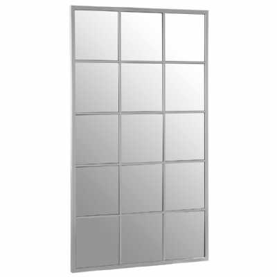 Descartes Large Rectangular Mirrored Glass Silver Finish Wall Mirror