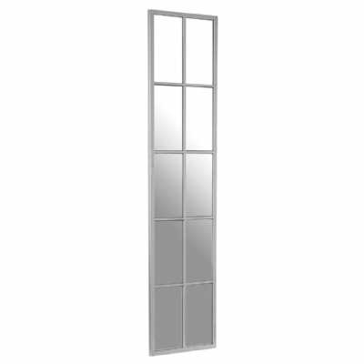 Contemporary Tall Slim Descartes Portrait Stainless Steel Wall Mirror