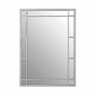 Descartes Rectangular Panelled Wall Mirror Silver Finish Steel Frame