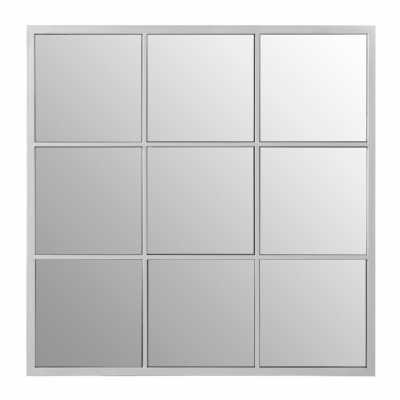 Descartes Medium Square Panelled Wall Mirror Silver Finish Steel Frame