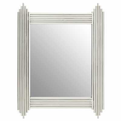 Art Deco Clarice Rectangular Silver Cylindrical Metal Wall Mirror