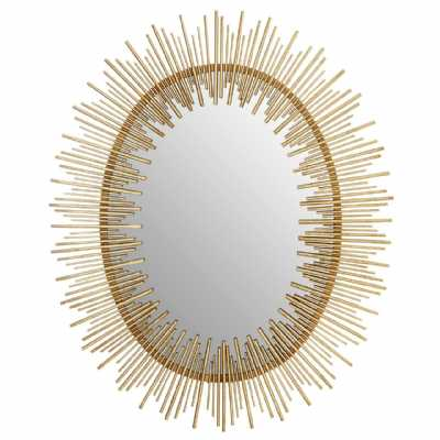 Art Deco Style Phalanx Oval Shaped Gold Finish Metal Iron Wall Mirror