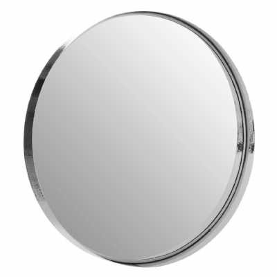 Leonov Large Round Recessed Silver Nickel Stainless Steel Wall Mirror