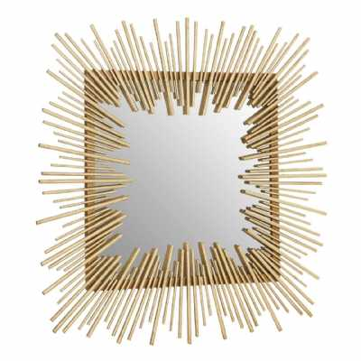 Art Deco Design Sunray Sunburst Sqaure Shaped Gold Finish Wall Mirror