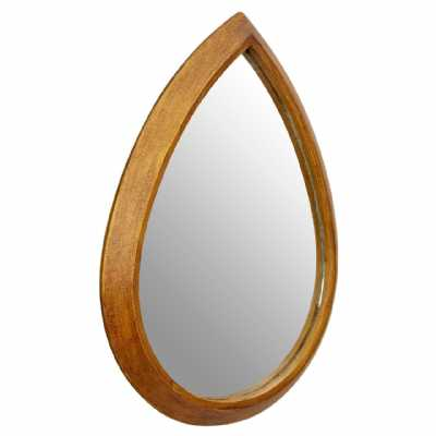 Teardrop Droplet Gold Finished Wooden Framed Decorative Wall Mirror