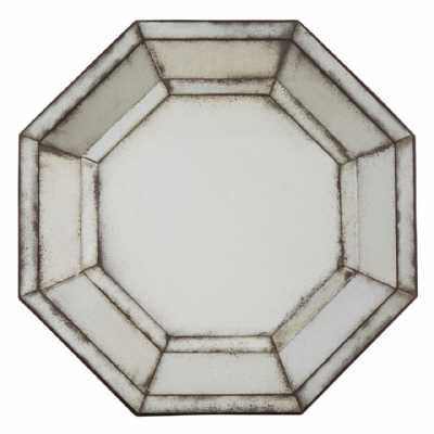 Vintage Style Riza 3D Frame Hexagonal Shape Antiqued Glass Wall Mirror