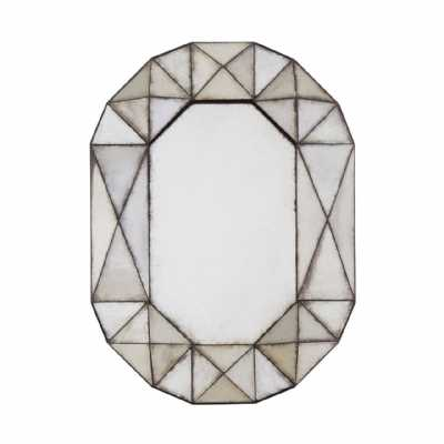 Vintage Style Riza Oval Geometric 3D Frame Antiqued Glass Wall Mirror