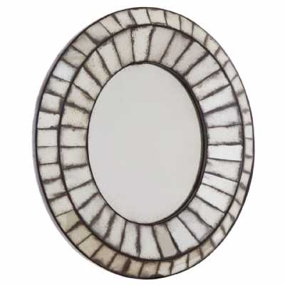 Vintage Style Riza Oval 3d Mozaic Effect Antiqued Glass Wall Mirror