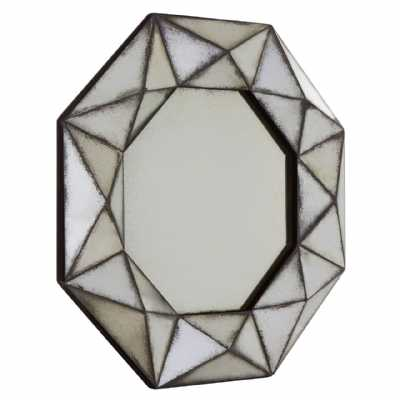 Geometric Riza Hexagonal Metal Glass 3D Frame Octagonal Wall Mirror