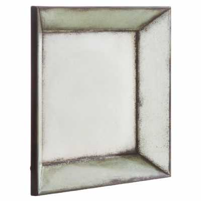 Modern Distressed Riza Square Angled Metal Glass Frame Wall Mirror