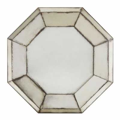 Vintage Style Riza 3D Frame Octagonal Shape Antiqued Glass Wall Mirror