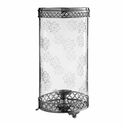 Large Arabesque Hurricane Metal Glass Candle Holder With Nickel Finish